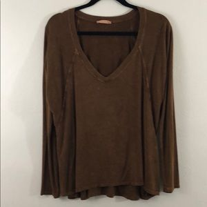 Abree copper brown distressed stretch soft shirt M